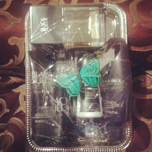 black suede gift set